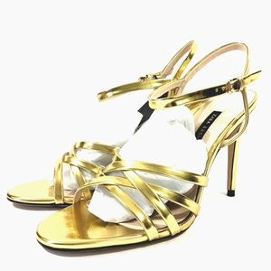 Zara Metalic Gold High Heel Strappy Sandals